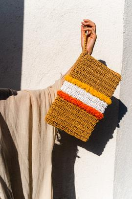 Nina Colorful Wicker Clutch